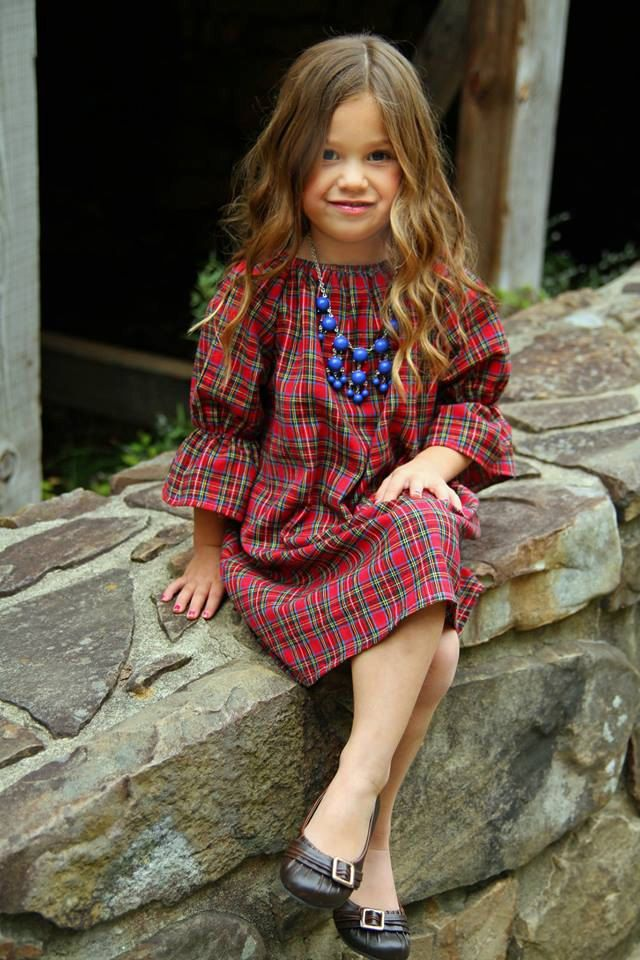 Girls Flannel Dress Blue Plaid  three quarter length long sleeve peasant dress spring wintercoming home outfit baby toddler girls (19.50 USD) by ShelbyJaneandCo