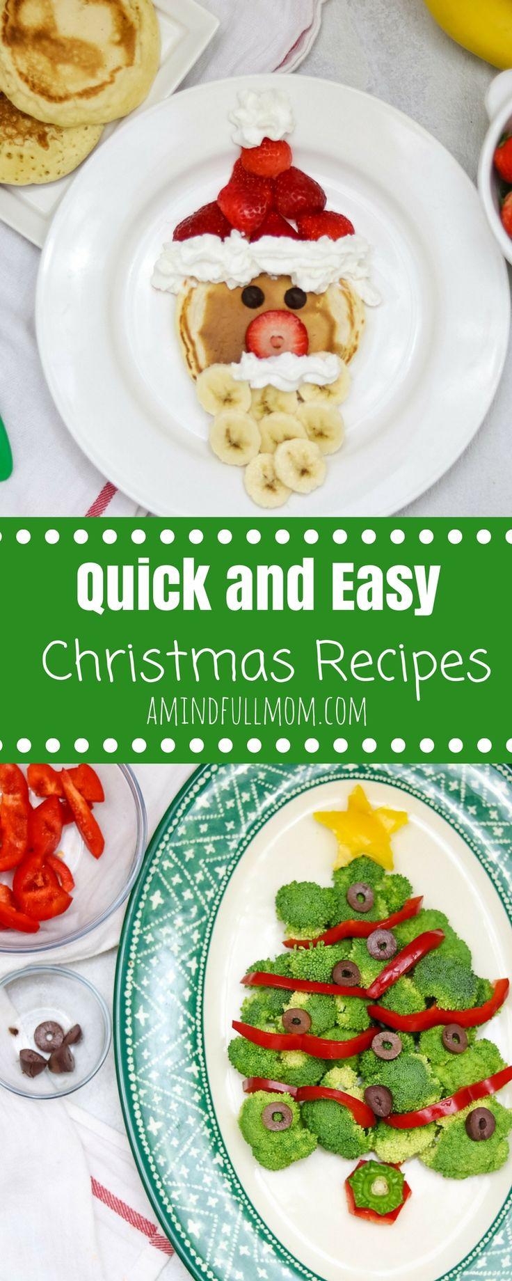 Easy Kid Friendly Christmas Recipes: Creative but EASY ways to bring a little magic to your food this holiday season. Step-by-step instructions on how to make Santa Pancakes, Broccoli Christmas Tree, Rudolph Reindeer Rice Cake, and a Candy Cane Pizza. #ChristmasRecipes #christmasrecipesforkids #funwithfood via @amindfullmom