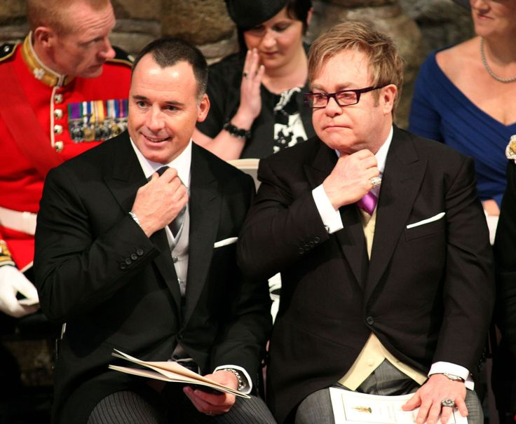 David Furnish (left) and Elton John at the wedding of Britain's Prince William and Kate Middleton, a...