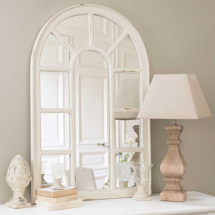 Witte OFELIA houten venster spiegel H 122 cm