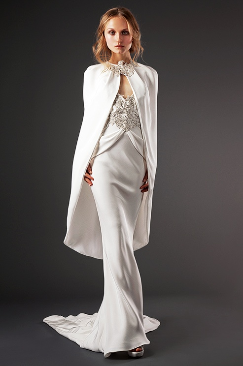 A cape tops an Elizabeth Fillmore wedding dress, Fall 2013
