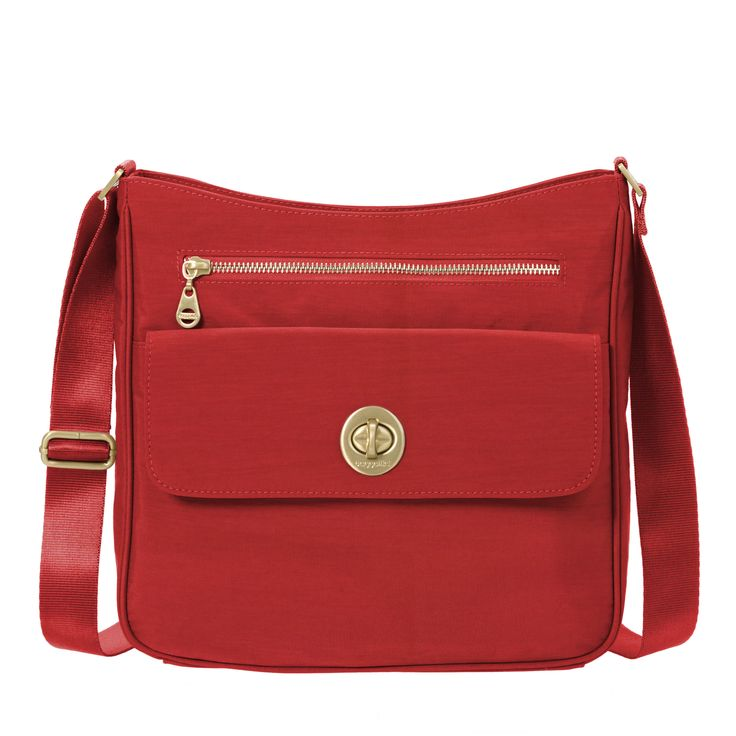Women's Antalya Top Zip Flap Crossbody Bag | Baggallini in Hibiscus | Nylon | Medium | Water-Resistant