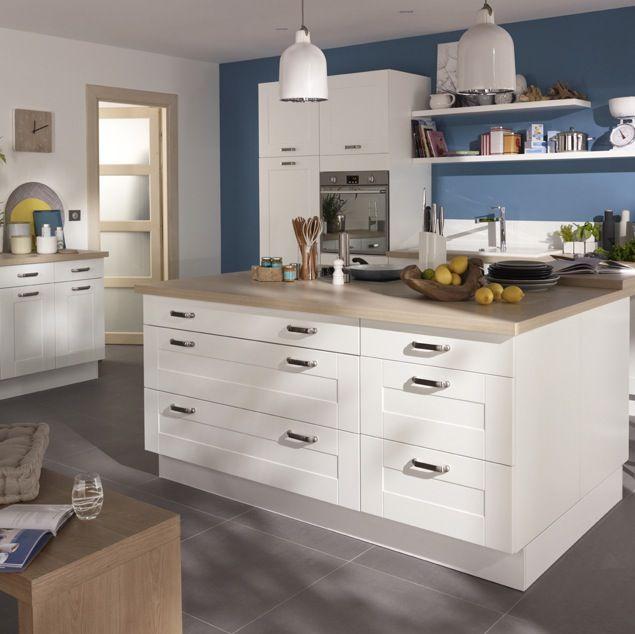 Cuisine kadral en bois blanc castorama prix 599 for Cuisine bleu bois