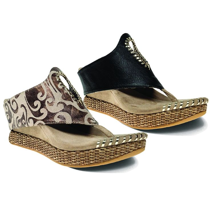 Lucia is a mid wedge, thong, reversible sandal, featuring cutout pattern framed with gold whip stitch trim and front tab to accommodate comfortable pull on. Des