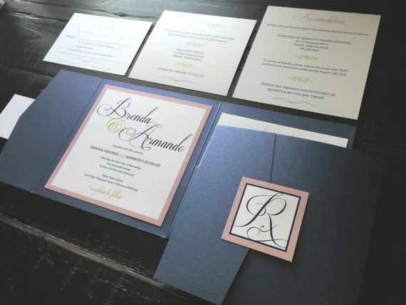Pocket Wedding Invitation Navy Blush and Gold by TheDesignBrewery