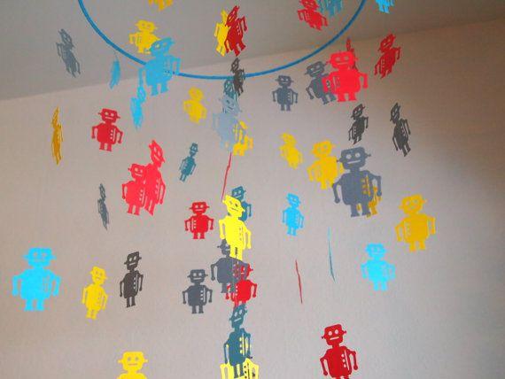 Robot Hanging Paper Mobile by ChildishDesignsShop on Etsy, $40.00