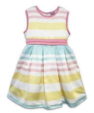 Yellow & Turquoise Pastel Stripe A-Line Dress - Toddler & Girls