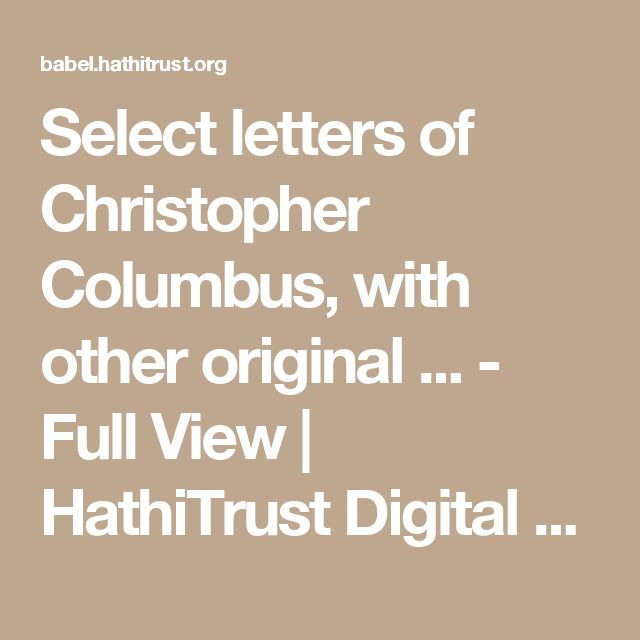 Columbus's letter on the first voyage