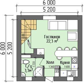 Маленький дом 6х6