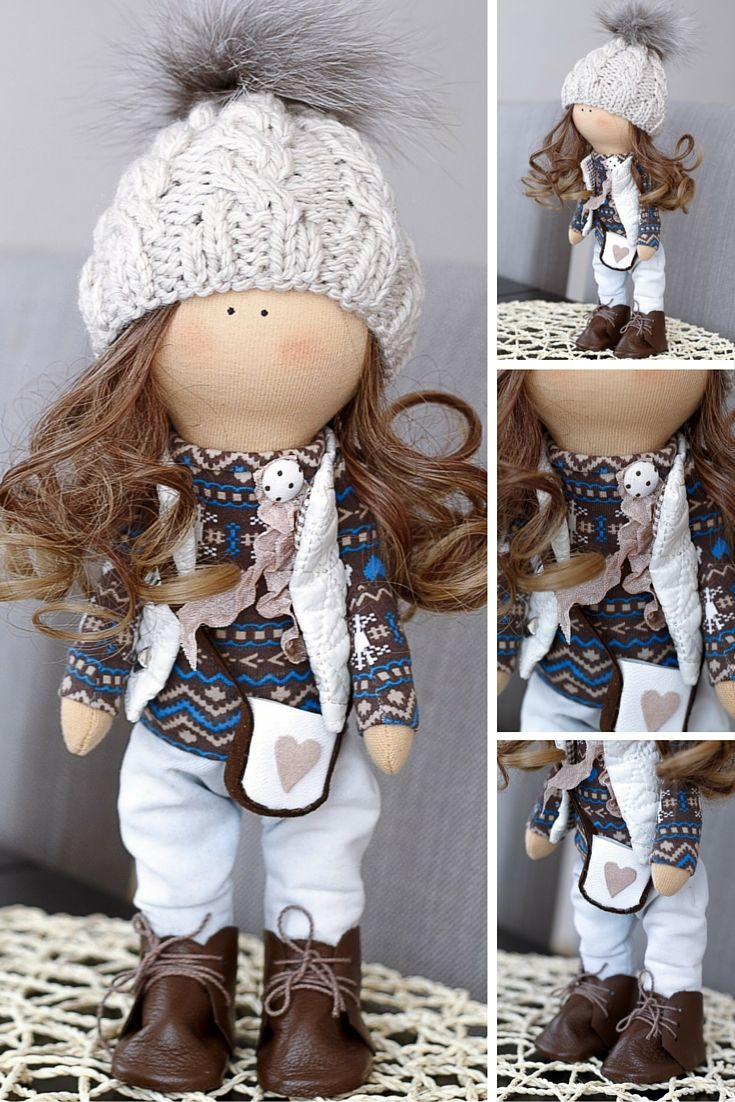 Brunette tilda doll Art doll Holiday doll handmade blue brown colors Soft doll…