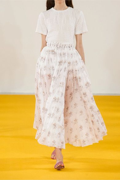 Emilia Wickstead - Gail Floral-print Cotton-voile Midi Skirt - White - UK12