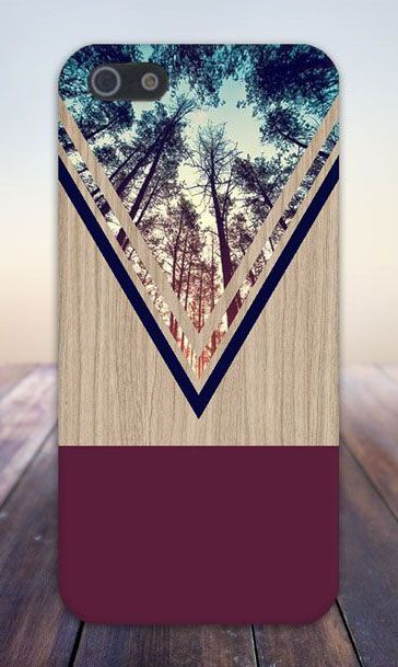 Violet Forest Navy Chevron Wood Design Case for Phone