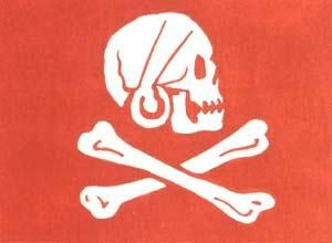 "Pirate standard of Henry Every (also Evory or Avery) (23 August 1659 – after 1696). Red pirate flags were a symbol that little or no quarter ( mercy ) would be given. The pirates were looking for an early surrender and an easy conquest through fear and intimidation. The French name for the red flag was the Jolie Rouge ( a cynical term translated as Pretty Red ). The red pirate flags were replaced by black pirate flags during the ""Golden Age""."
