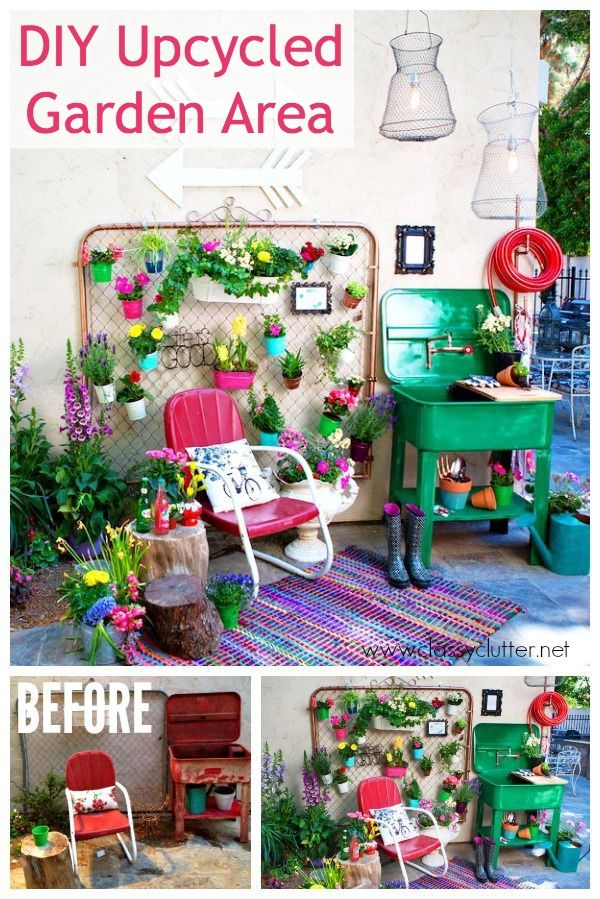 Upcycled garden area and blog hop upcycled garden for Garden area ideas