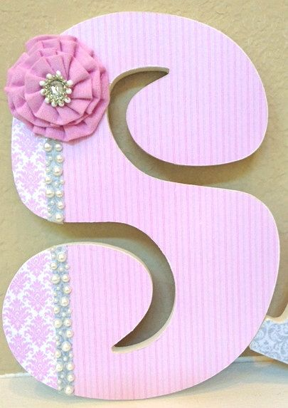 Custom Nursery Letters- pink and gray- Girl Nursery Decor- Wooden Hanging Letters - Nursery Wall Letters- The Rugged Pearl