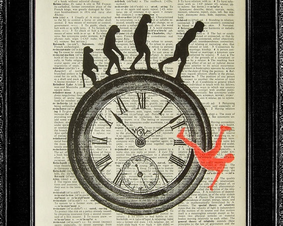 This piece shows the generic evolution of a human life, the clock also shows that as time goes on, people change.