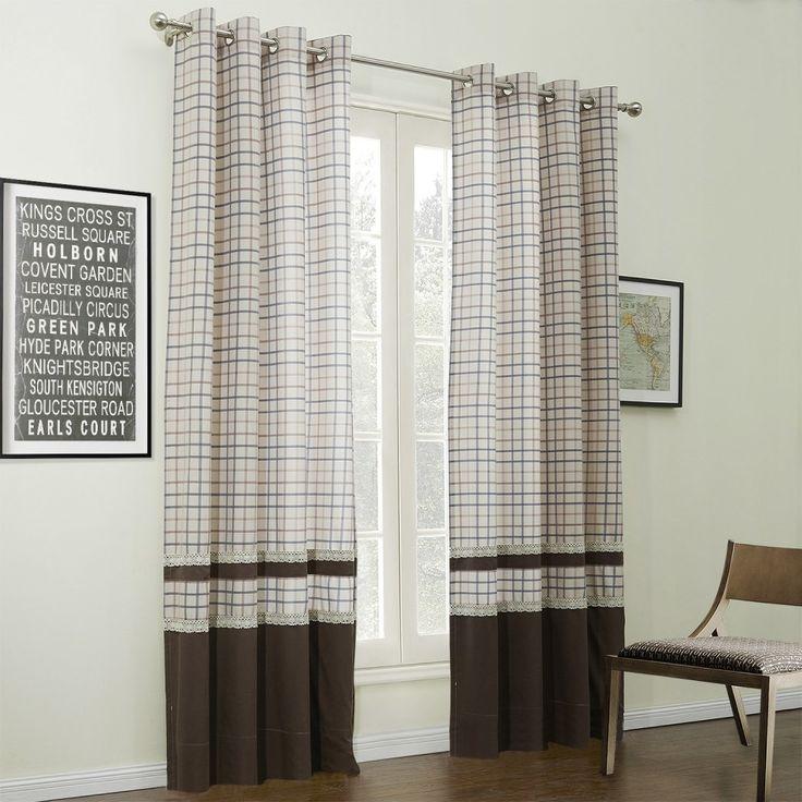 Modern Plaid Jacquard Cotton Linen Blend Eco-friendly Curtain  #curtains #homedecor #decor #homeinterior #interior #design #custommade