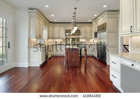 White cabinets with cherry stain floor  For the Home in 2019  Antique kitchen cabinets Cherry