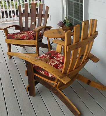 Wine Barrel Stave Adirondack Chair Recycled Wood Oak Handcrafted