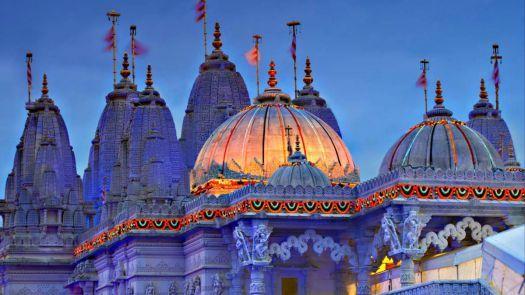 BAPS Shri Swaminarayan Mandir (Neasden Temple) decorated for Diwali, London, England