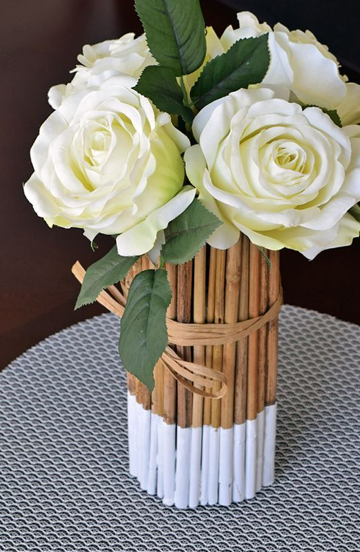 DIY Romantic Bamboo Table Centerpiece - simple and inexpensive centerpiece for the home that takes only a few minutes and some hot glue to make