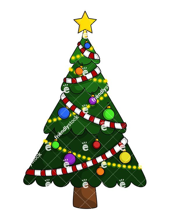 Christmas Tree With Garland Cartoon Clipart Vector Friendlystock Christmas Christmas Tree Christmas Decorations