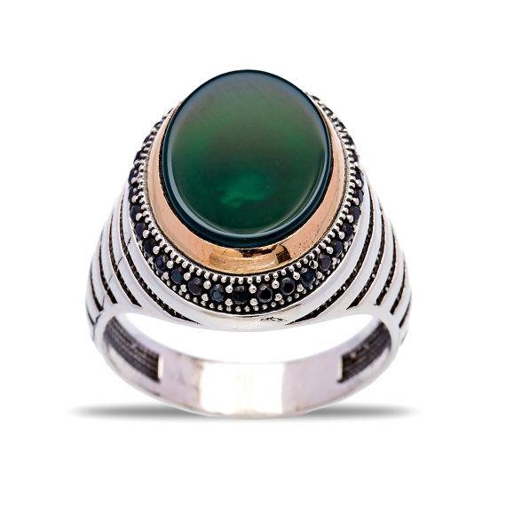 Grüner Achat authentische Männer Ring islamische Ring von ETHEIA