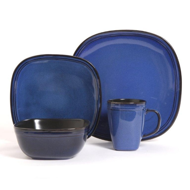 Cafe Rustica 16PC Dinnerware Set - blue  -  buy @ www.dishes4less.com
