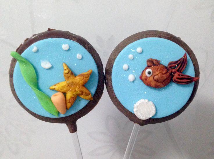 pirulitos de chocolate para festa tema a pequena sereia