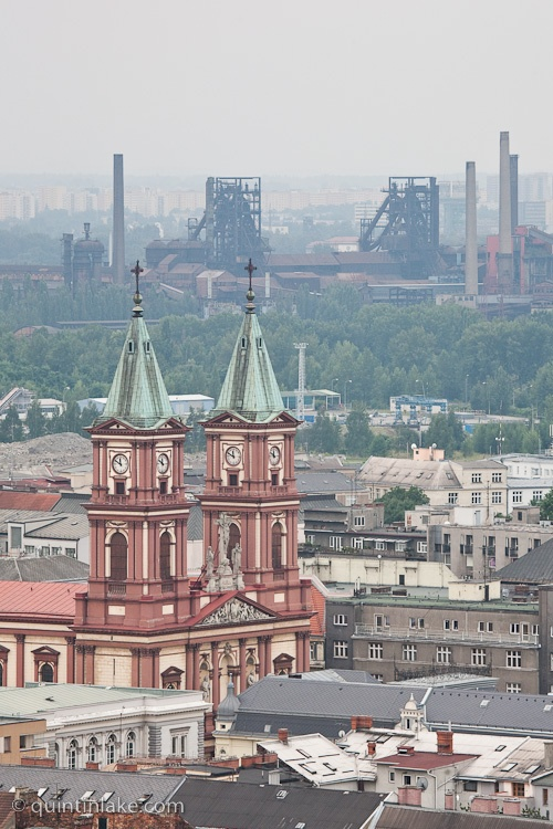 Cathedral of the Divine Saviour in front of Blast furnaces of Vitkovice Iron and Steel Works, Ostrava, Czech Republic