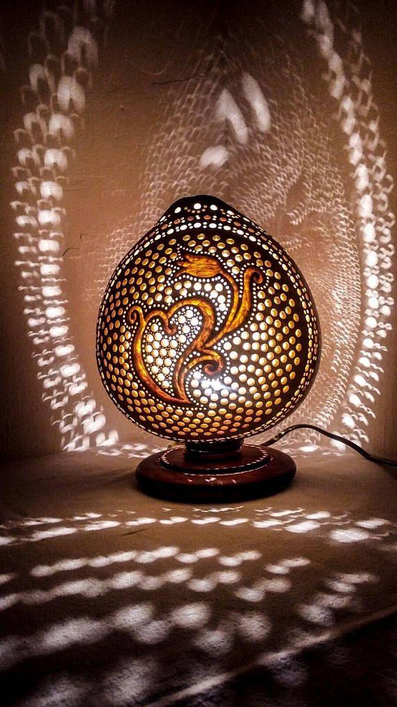 HANDMADE GOURD ART  Gourdlamp art deco Ottoman Turkish lamp