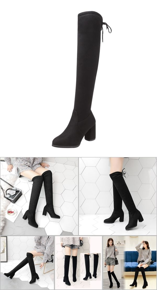 9ea3ed8d383 New Flock Leather Women Over The Knee Boots Lace Up Sexy High Heels Women  Shoes Lace