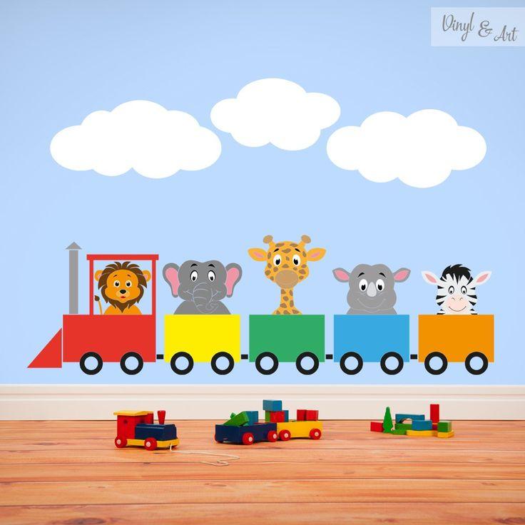 Vinilo Adhesivo Decorativo Infantil - Tren de animales. Ya ha llegado el tren a tu habitación, y trae a los animales del zoológico. #vinilos #adhesivos #decorativos #vinylandart #arte #inspiracion #diseño #infantil #tren #animales www.vinylandart.com