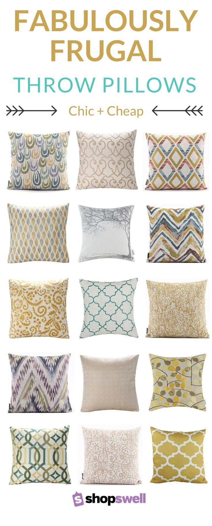 Designer styled home decor doesn't have to cost and arm and a leg. Just check out this collection of throw pillows and covers. At $15 or less no one will ever know decorated on a budget.