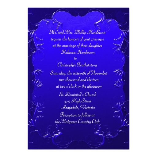 20 best Royal Blue Wedding Invitations images on Pinterest