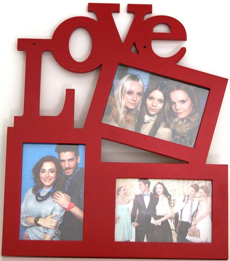"""Portaretrato de madera doble rojo """"love"""""""