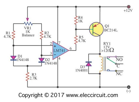 Dfferential temperature Relay switch using IC-741