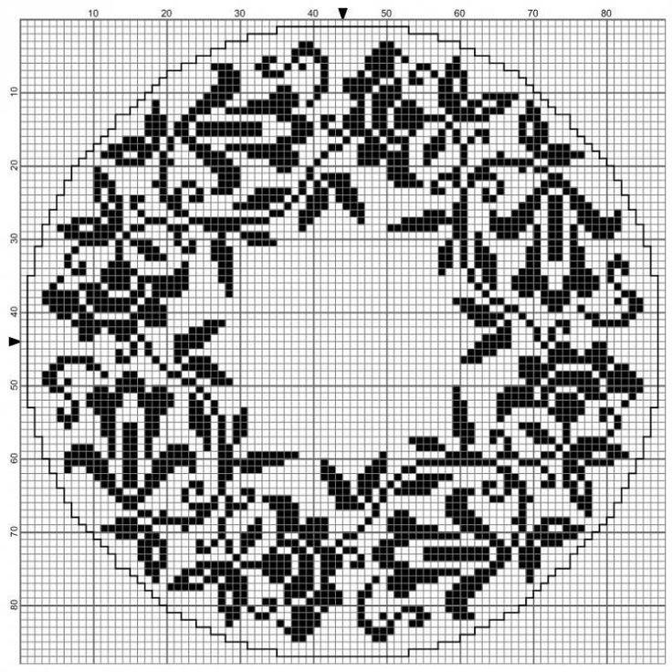Round 02 | Free chart for cross-stitch, filet crochet | gancedo.eu