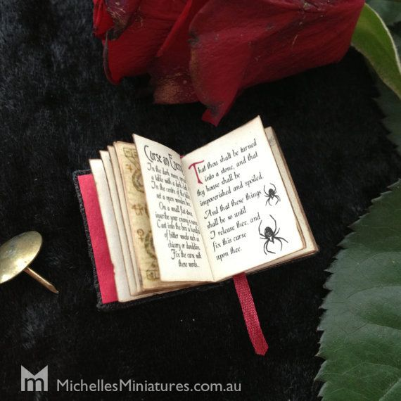 1:12 Scale Spooky Spell book by Michelles Miniatures - inside spread with spiders