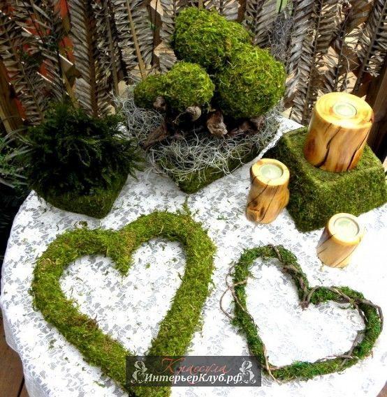 Мох в декоре, весенний декор