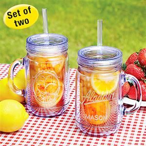 THERMAL DOUBLE WALL MASON JAR TUMBLERS SET OF TWO | Get Organized