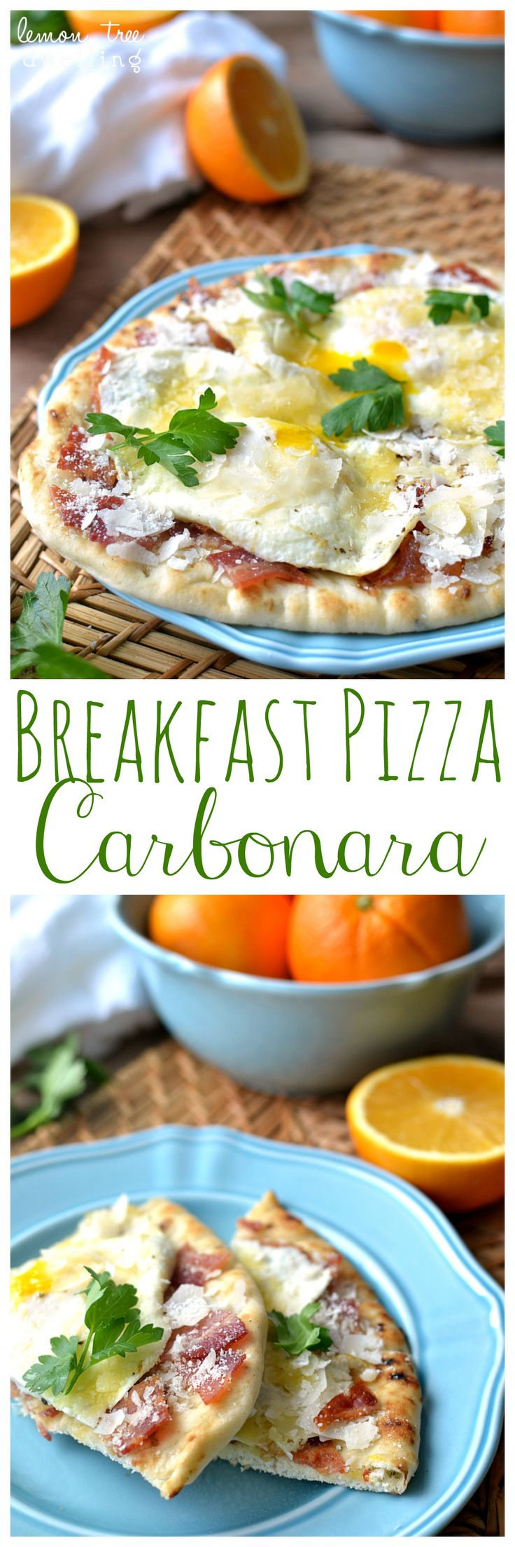 Breakfast Pizza Carbonara - just 10 minutes to make! This would be delicious for breakfast, lunch, or dinner!