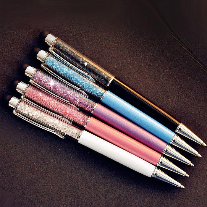 5 unids/lote Lindo Crystal pen Diamond bolígrafos Papelería bolígrafo 2 en 1 crystal stylus pen touch pen logotipo personalizado