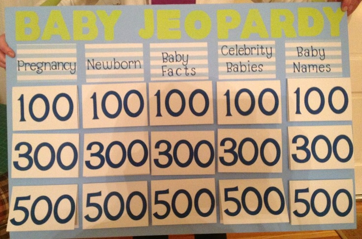 baby jeopardy game parties pinterest