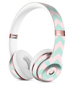 The Coral and Mint Chevron Pattern Full-Body Skin Kit for the Beats by Dre Solo 3 Wireless Headphones