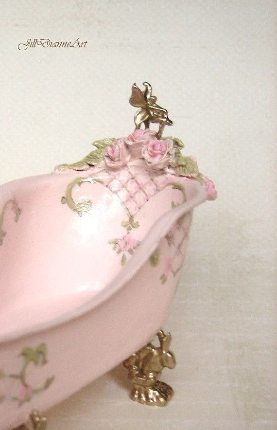 When a dollhouse tub costs more than the real thing?; Archive Pink French Marie Antoinette Chic Lady's by JillDianneArt, $385.00