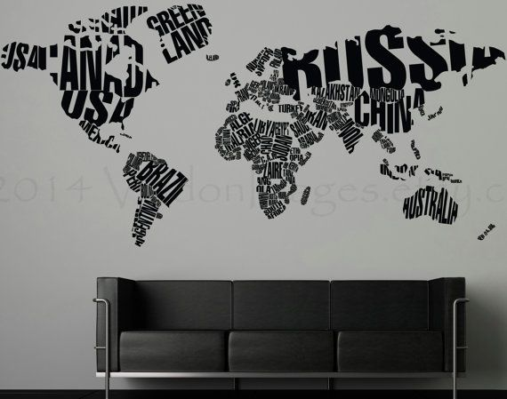 Best 25 world map wall decal ideas on pinterest world map decal world map made out of words vinyl wall decal wall by valdonimages gumiabroncs Images