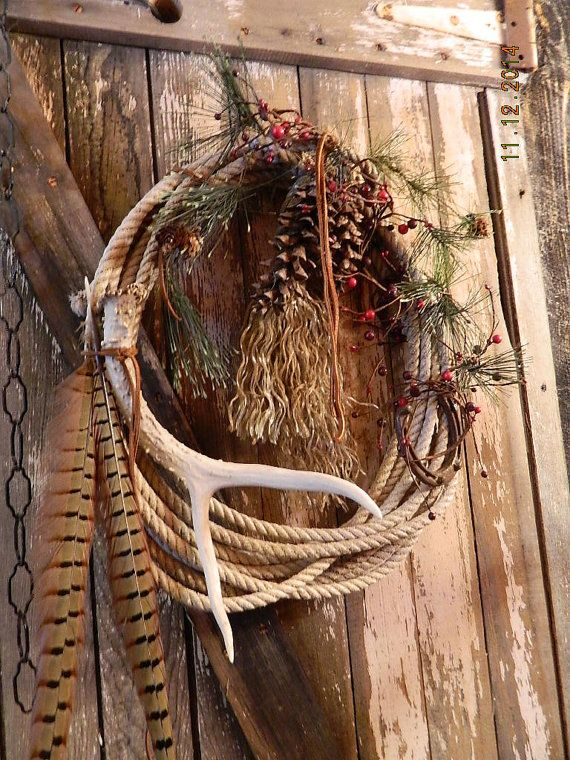 Western Cowboy Rodeo Farm Christmas Holiday Wreath by dakotagypsy