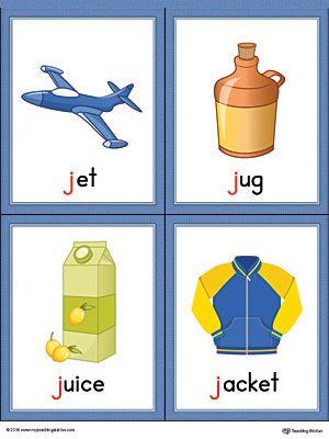 Letter J Words And Pictures Printable Cards Jet Jug Juice Jacket