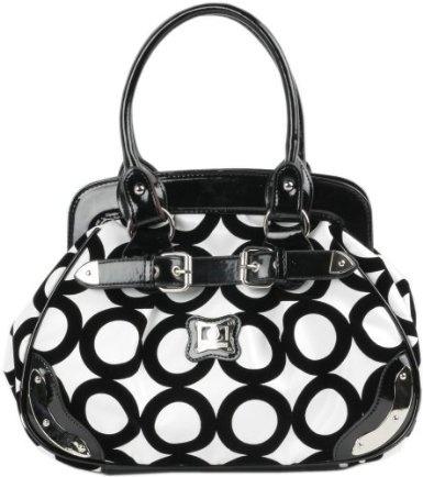 Amazon.com: Black and White Chic Mod Circle Bowler Satchel Hobo Handbag: Clothing